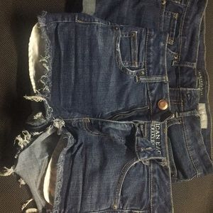 Two pairs denim shorts